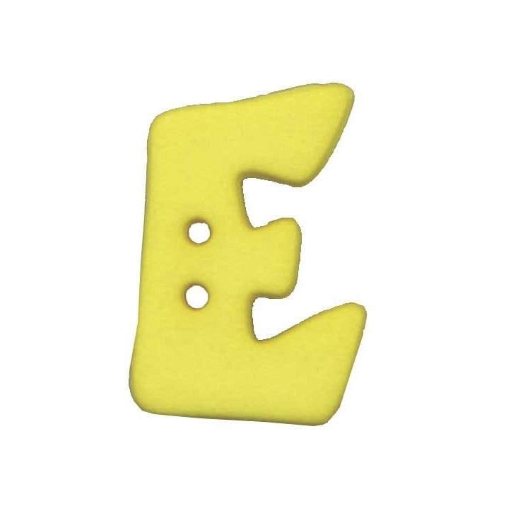 Letter shaped button, E, yellow