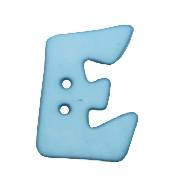 Button letter E, light blue