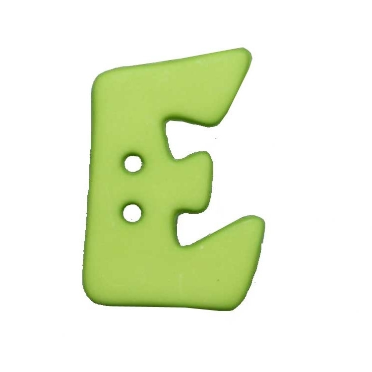Letter shaped button, E, light green