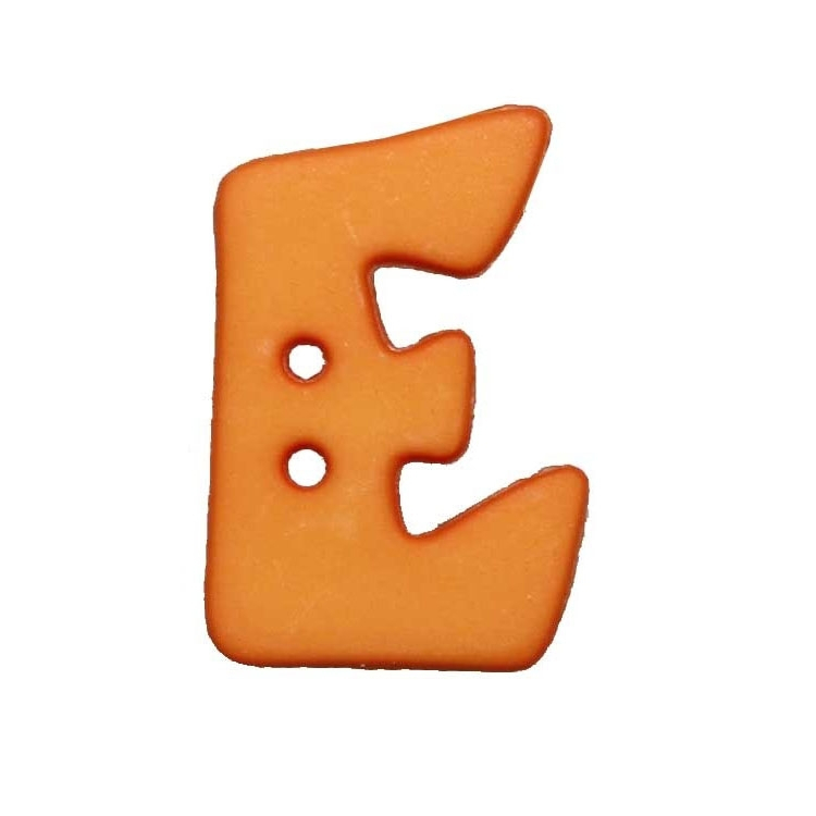 Letter shaped button, E, orange