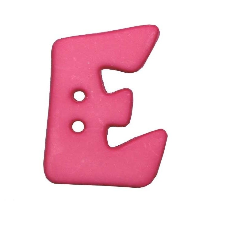 Letter shaped button, E, pink