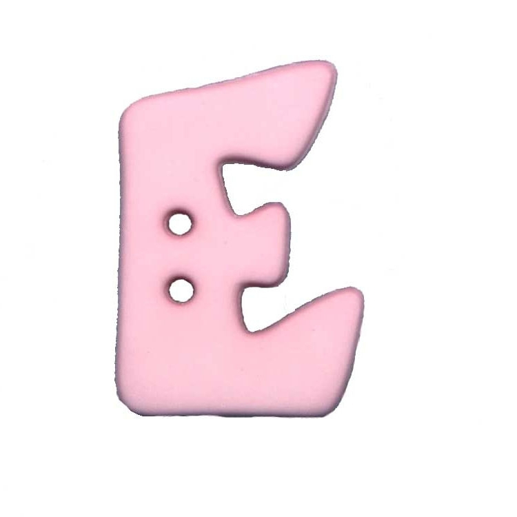 Button letter E, pink
