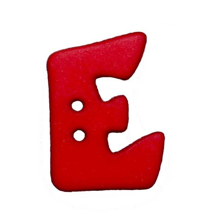 Letter shaped button, E, red
