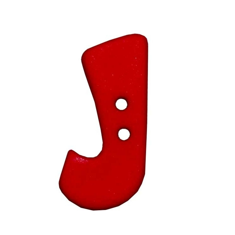 Letter shaped button, J, red