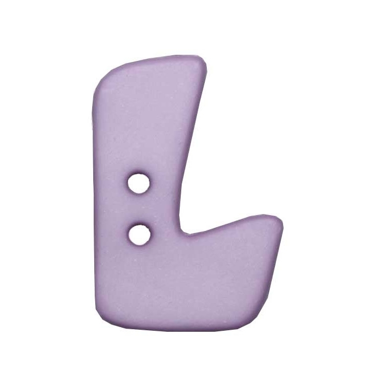 Letter shaped button, L, lilac