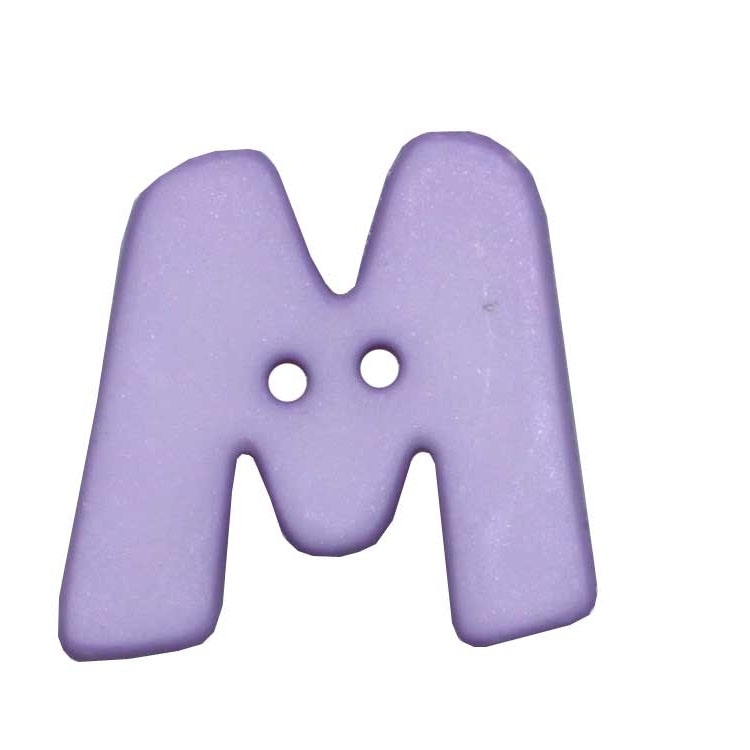 Letter shaped button, M, lilac