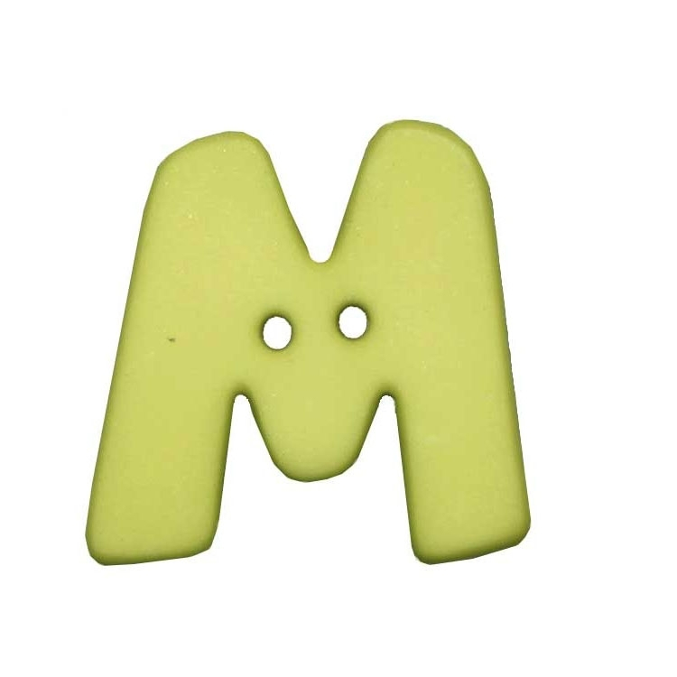 Letter shaped button, M, light green