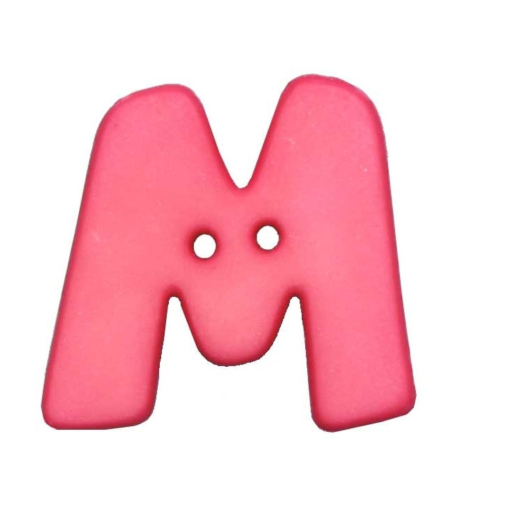 Letter shaped button, M, pink