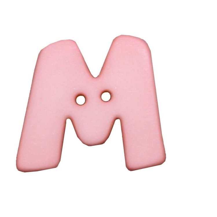 Letter shaped button, M, pink 2