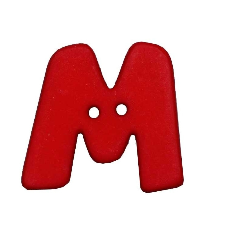 Letter shaped button, M, red