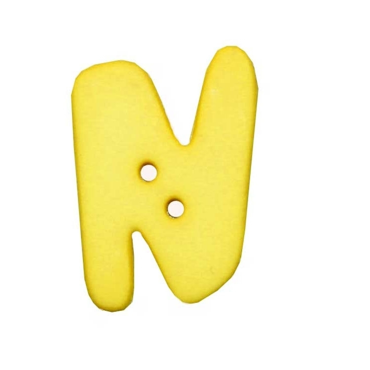 Letter shaped button, N, yellow