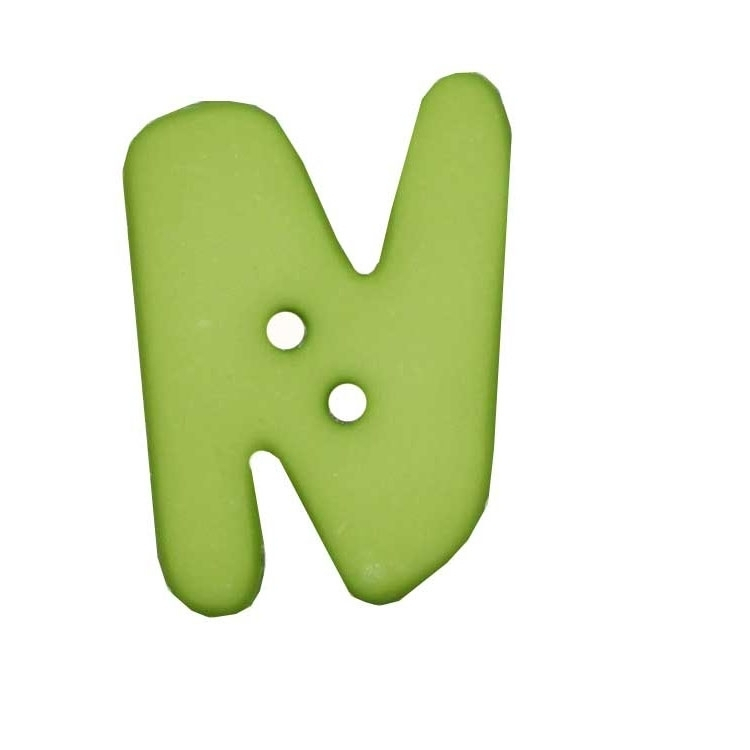 Letter shaped button, N, light green