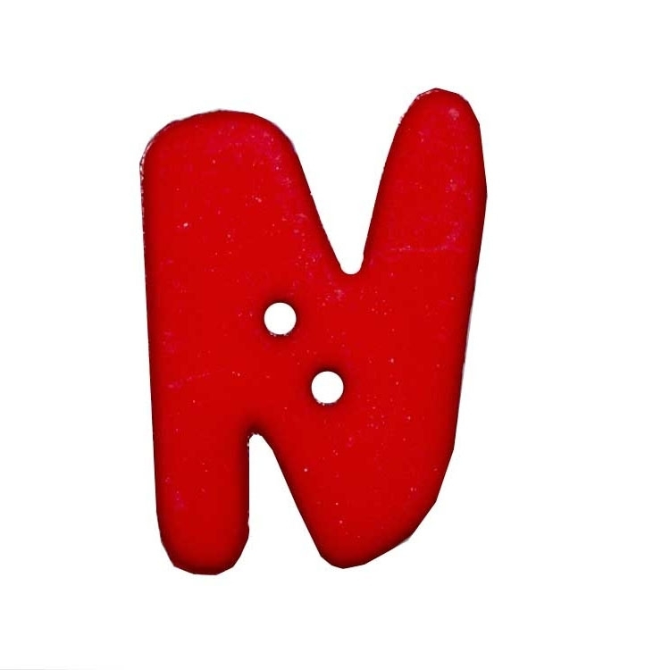 Letter shaped button, N, red