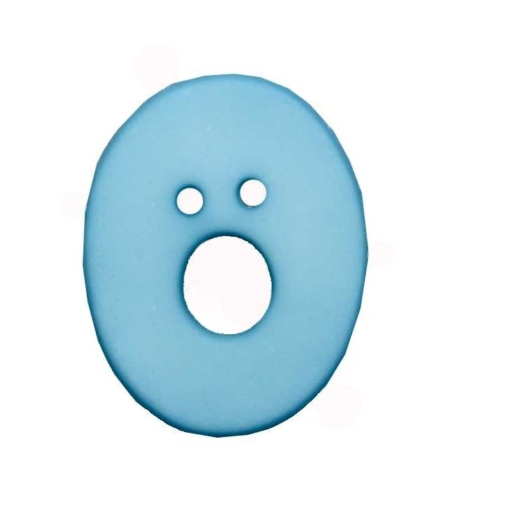 Letter shaped button, O, light blue