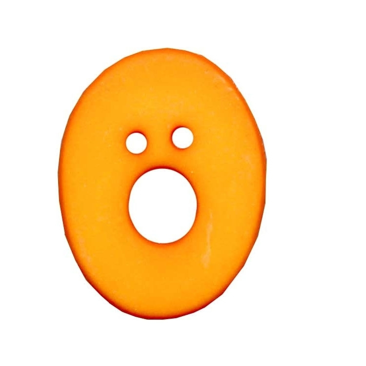 Letter shaped button, O, orange