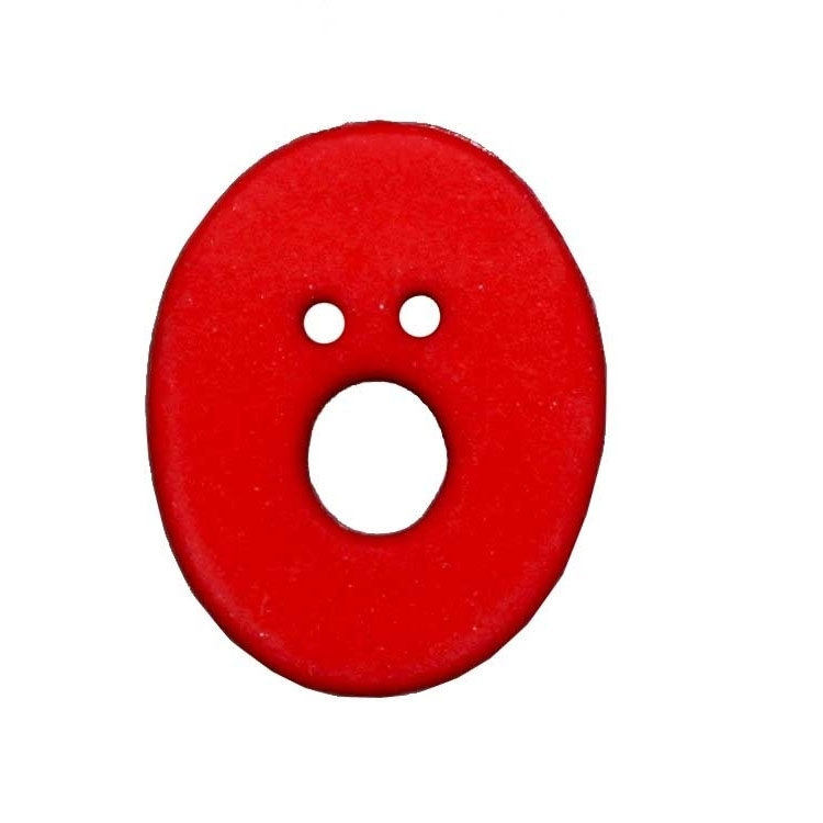 Letter shaped button, O, red
