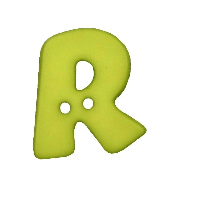 Letter shaped button, R, light green