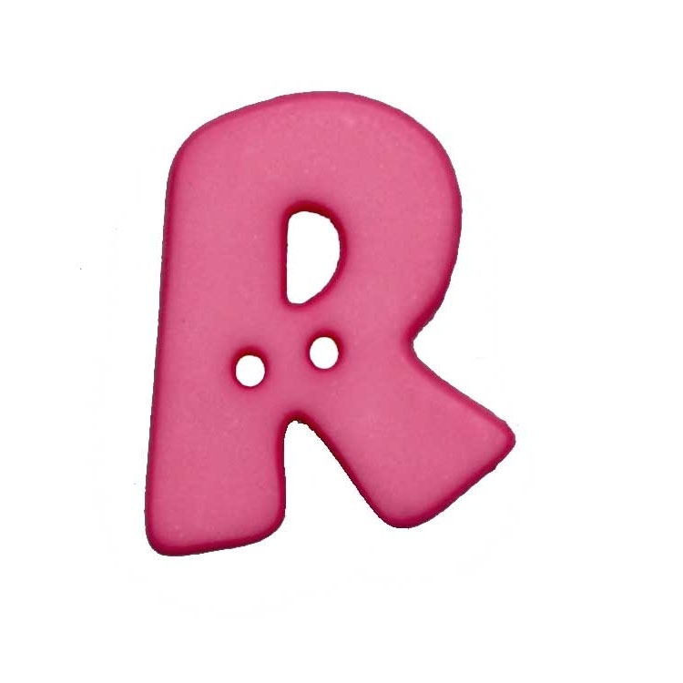 Letter shaped button, R, pink