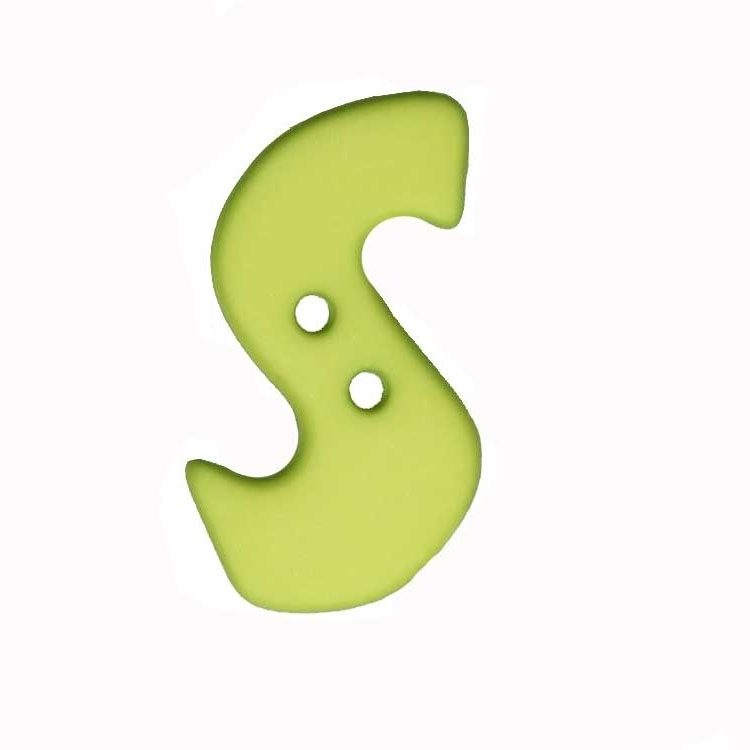 Letter shaped button, S, light green