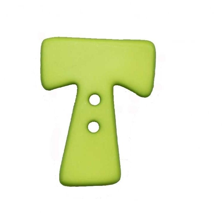 Letter shaped button, T, light green
