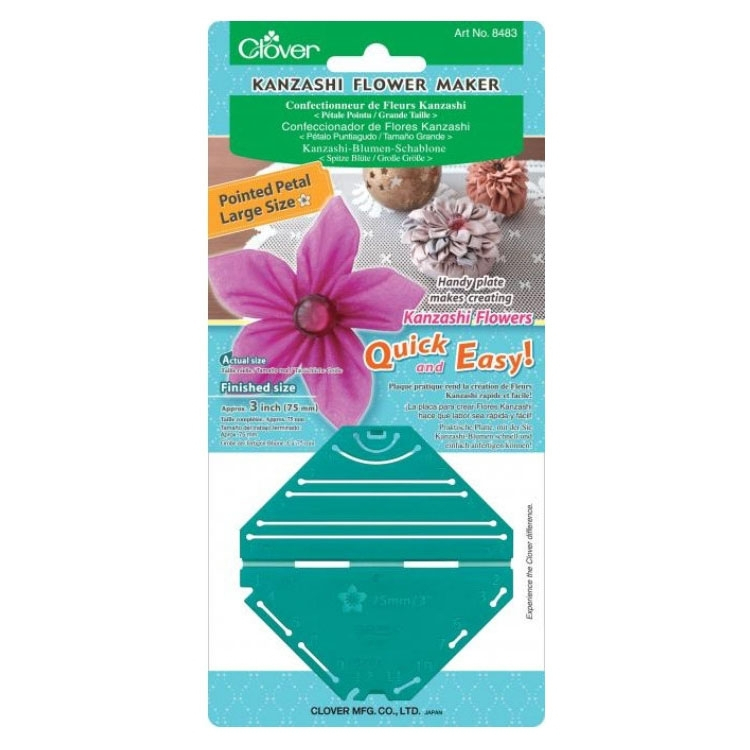 Clover Kanzashi flower maker template, pointed / large petals ...
