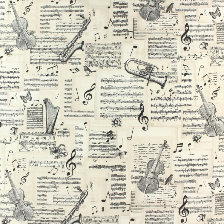 Deco fabric Music Notes | fabrics-hemmers.co.uk