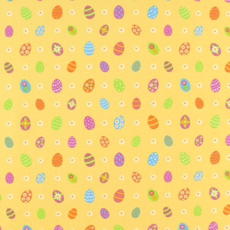 Osterstoff mit bunten Ostereiern