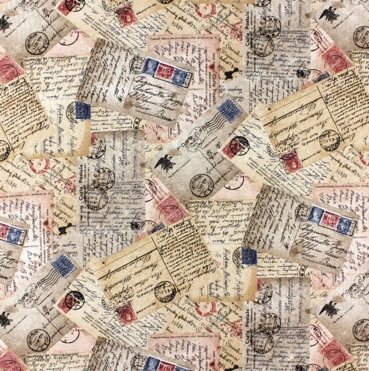 Deco fabric, postcards, brown