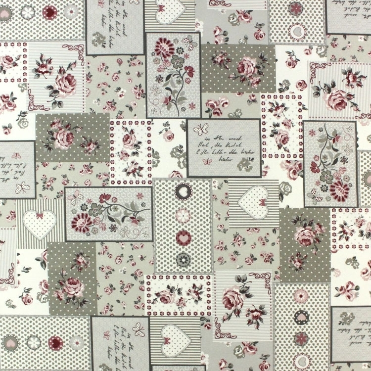 Deco stof Roses Dreams Patchwork, taupe