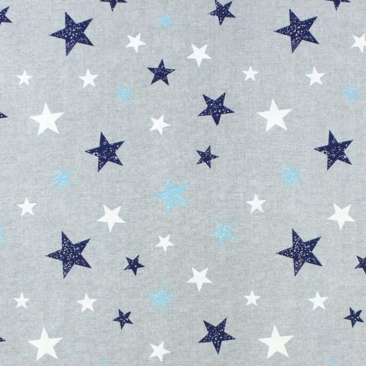 Dekostoff Sterne, grau/blau