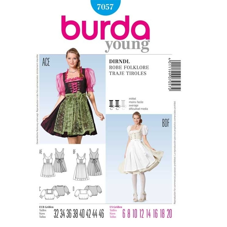 Sewing pattern DIRNDL z bluzką Burda 7057
