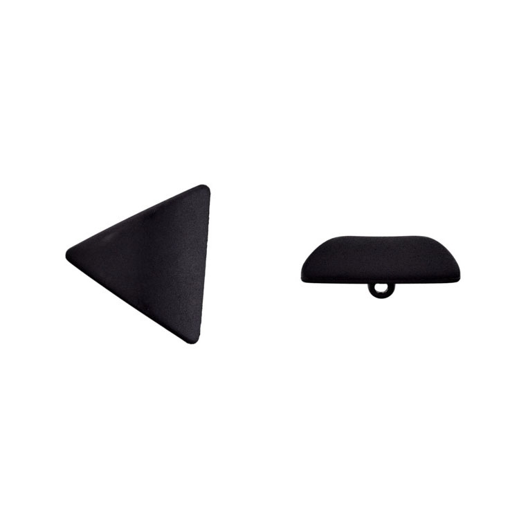 Shank button triangular, black, 28mm/pcs.