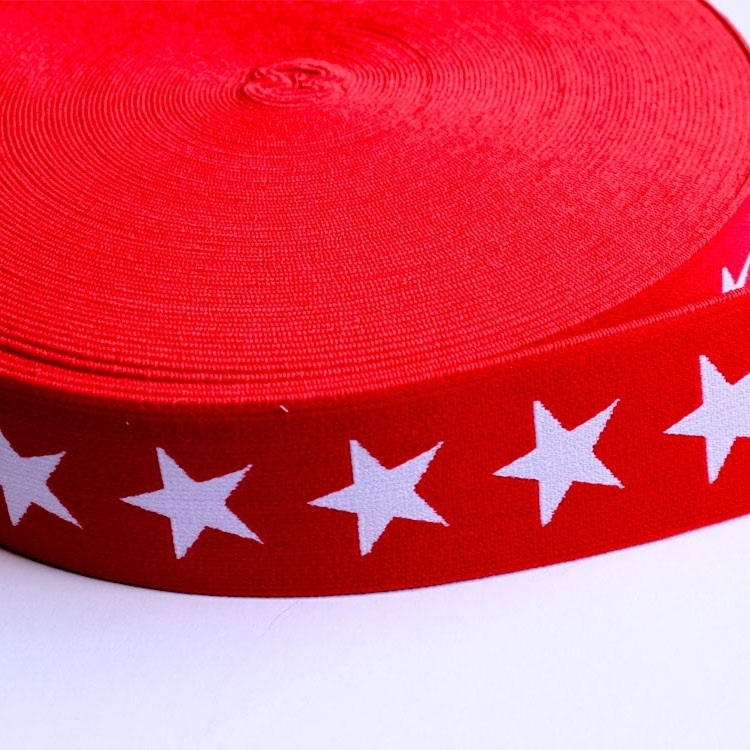 Elastic Ribbon with stars, red-white
