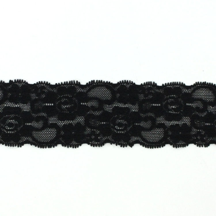 Stretch lace, 5 cm, black