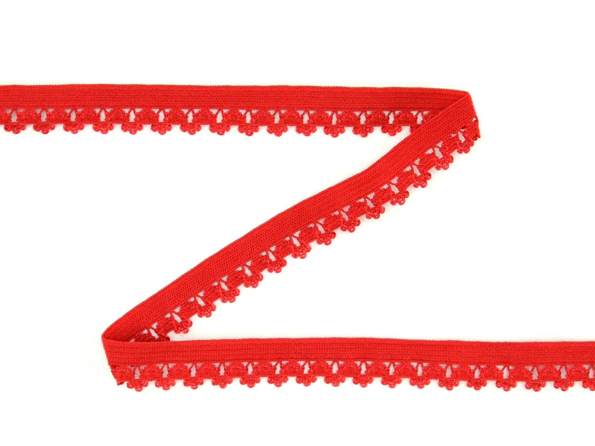 Elastic Binding Ribbon with flowers, red 14 mm