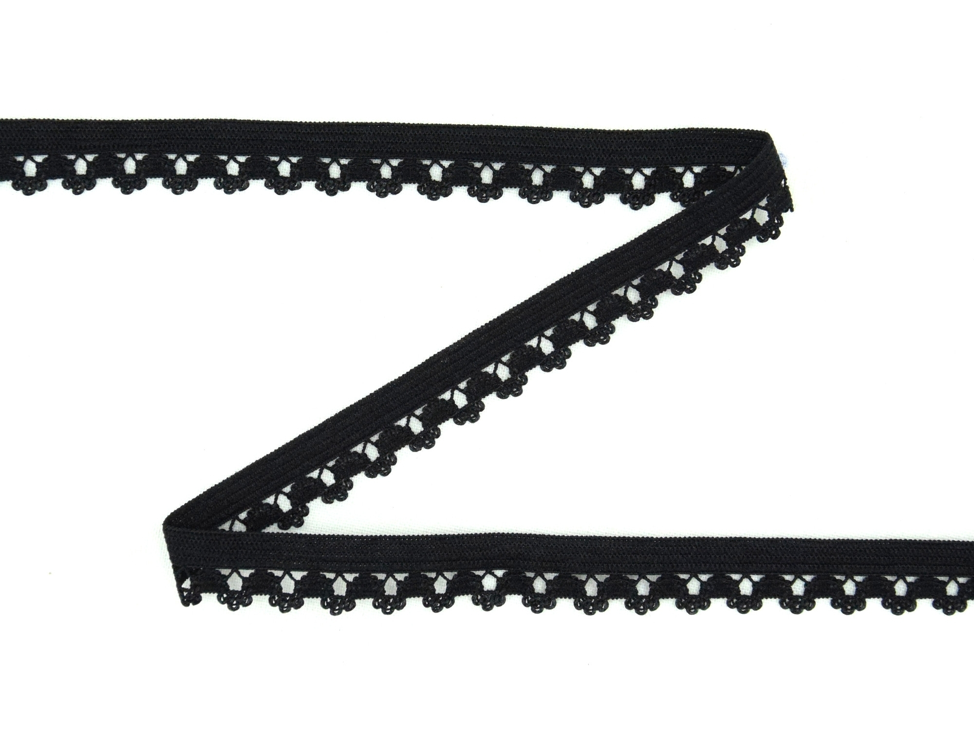 Elastic Binding Ribbon with flowers, black 14 mm