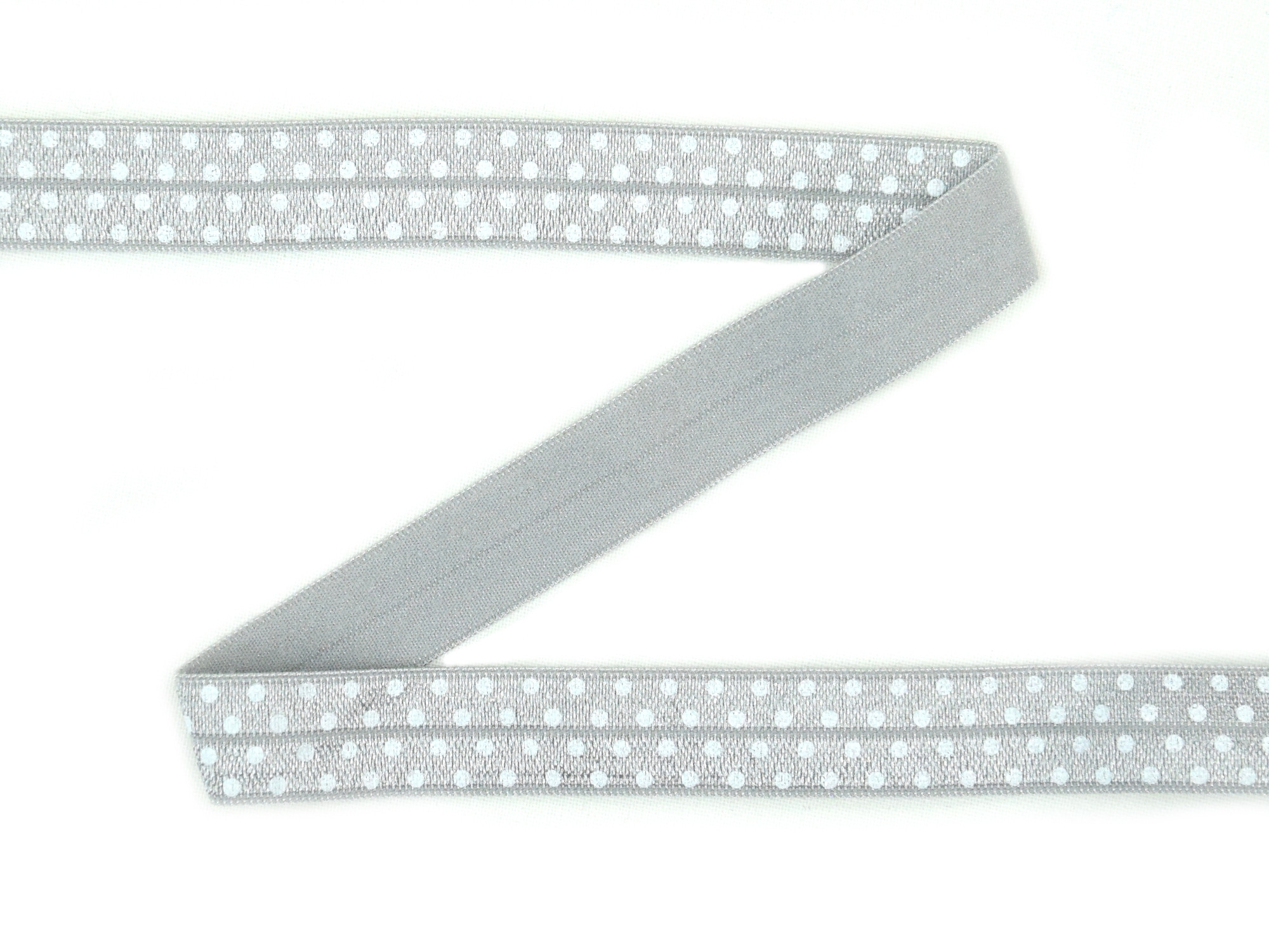 Elastic Binding Ribbon with dots, grey 15 mm