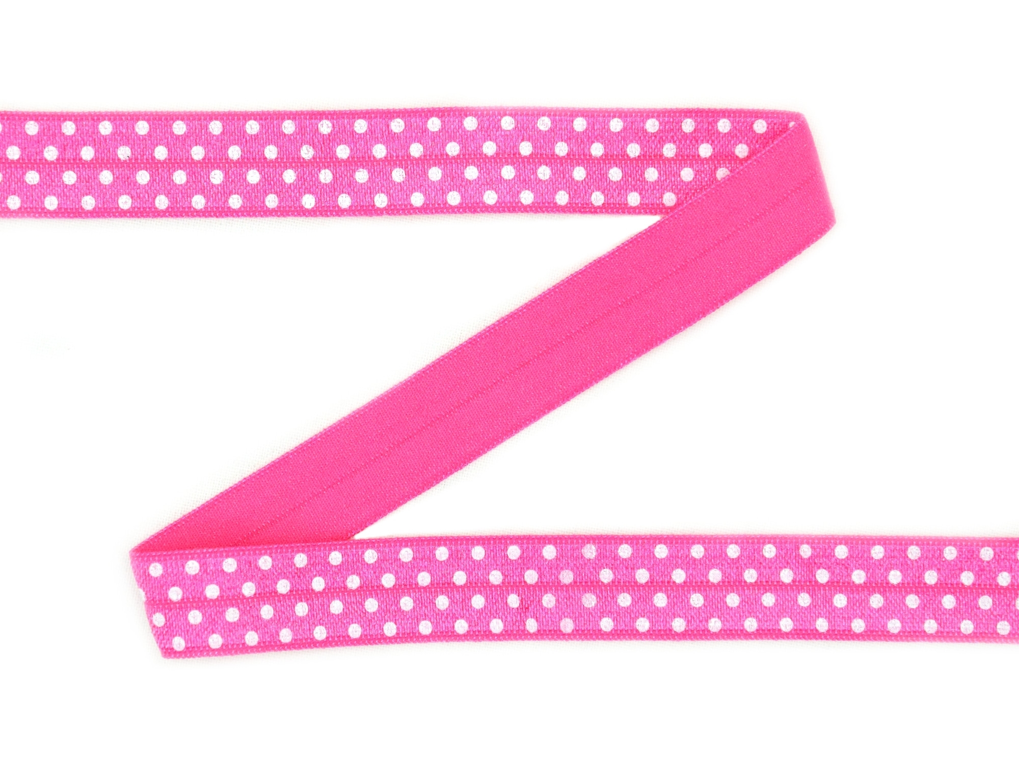 Elastic Binding Ribbon with dots, pink 15 mm