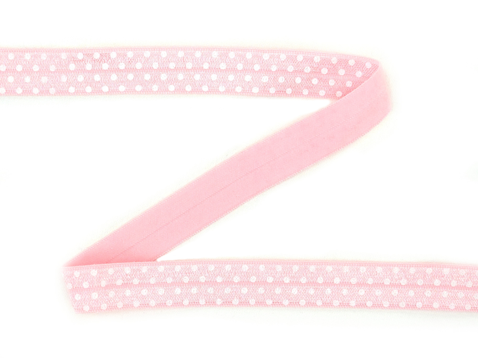 Elastic Binding Ribbon with dots, rose 15 mm