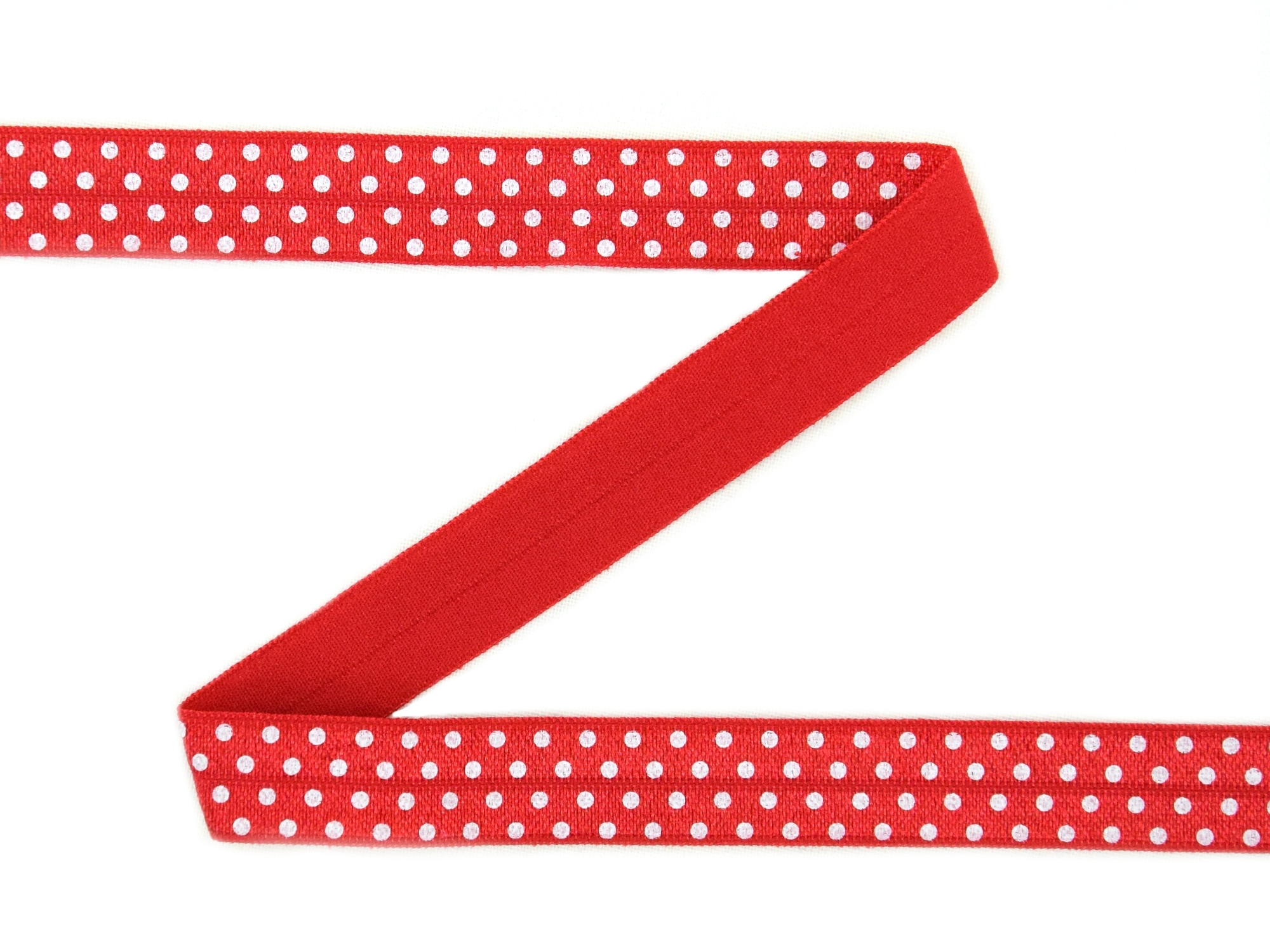 Elastic Binding Ribbon with dots, red 15 mm | 30203 | rot