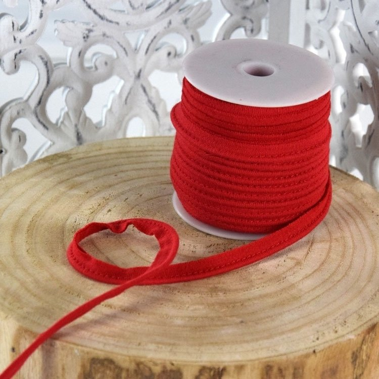 Elastisch Piping ribbon, red