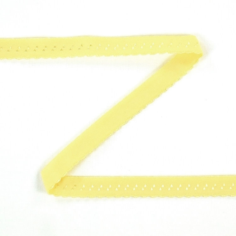 Elastic lace edge binding, yellow 12 mm