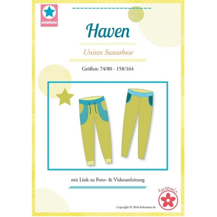 Farbenmix Haven Sweatpants, Patron en papier