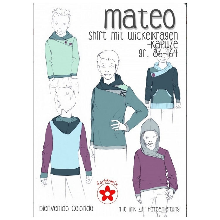 Farbenmix Mateo Shirt with Wrap Collar, Patron en papier