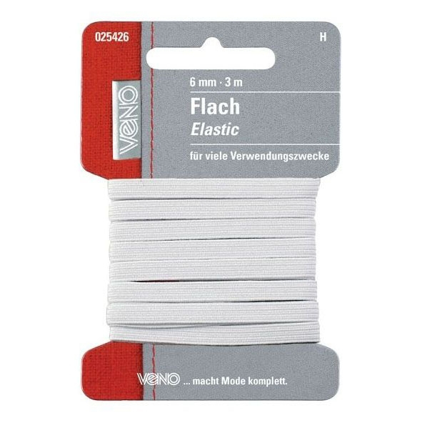 Flat-Elatic-band, 3 m, 6 mm breed, wit