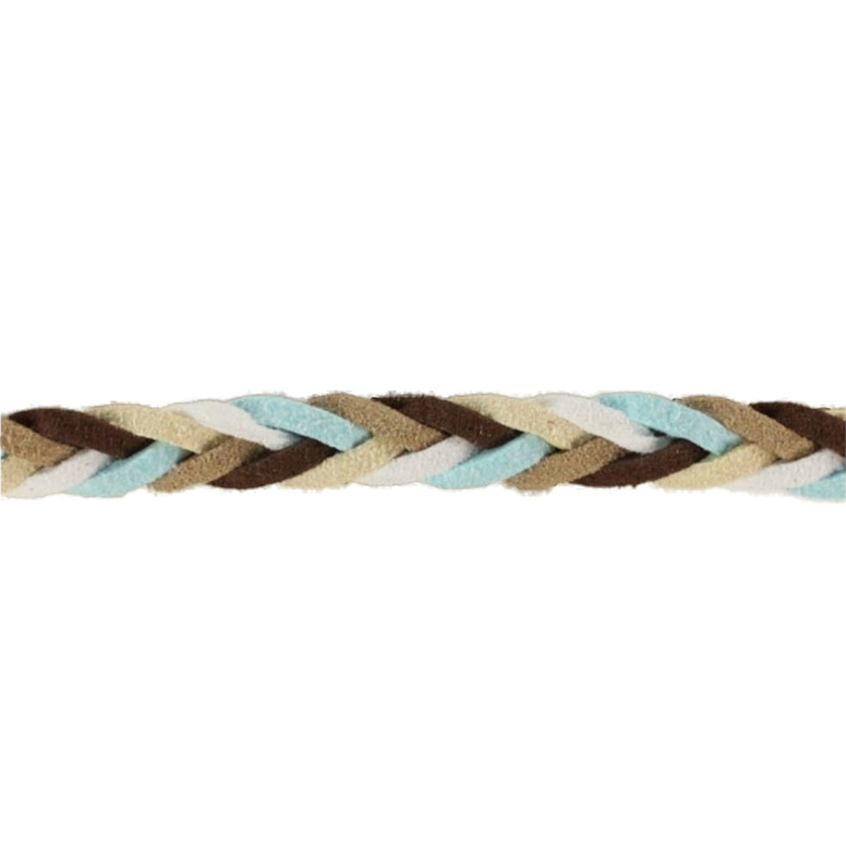 Braided hoodie ribbon mixed colours, light blue / brown / beige / white / cream