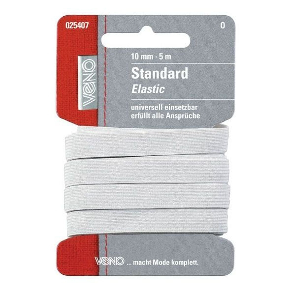 Elatic-band, 5 m, 10 mm breed, wit