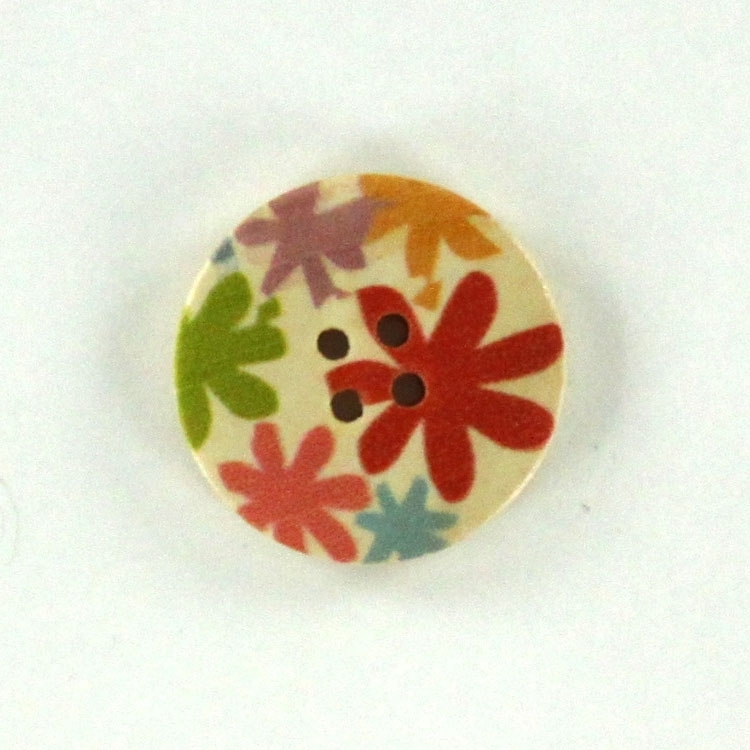 Wooden button flower 2,5 cm