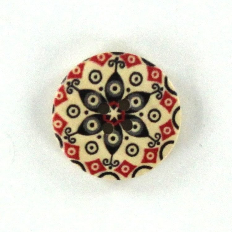 Wooden button Mandala 2,5 cm