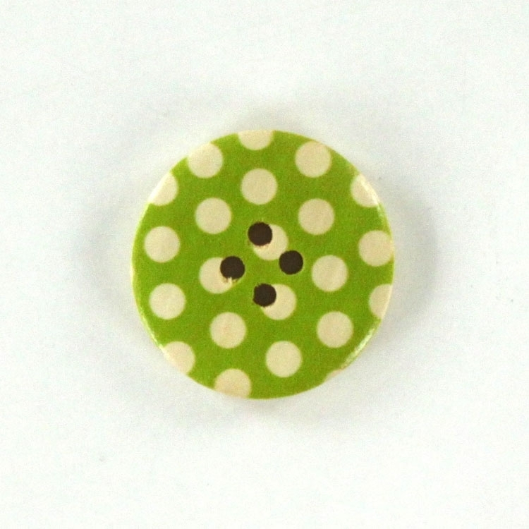 Wooden-knop stippen 3 cm, lime